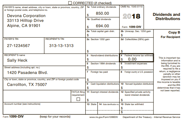 CORRECTED (if checked) OMB No. 1545-0110 1a Total ordinary dividends PAYER'S name, street address, city or town, state o