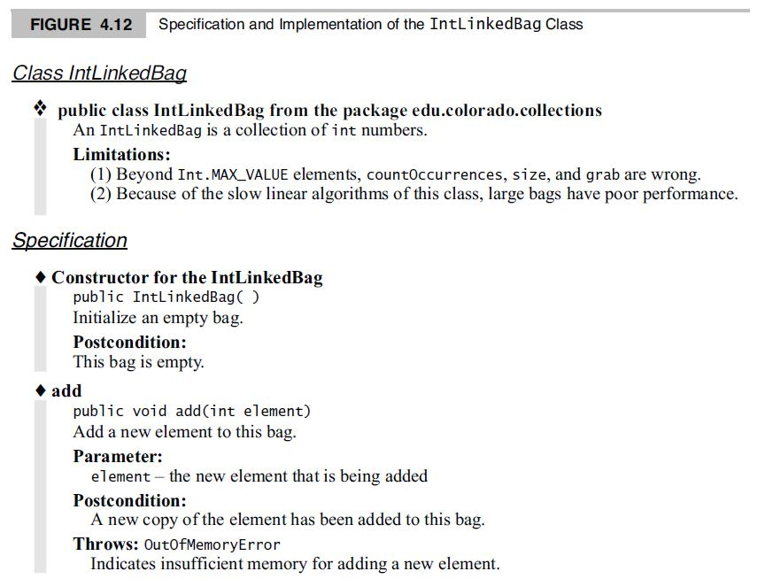 FIGURE 4.12 Specification and Implementation of the IntLinkedBag Class Class IntLinkedBag * public class IntLinked Bag from the package edu.colorado.collections An IntLinkedBag is a collection of int numbers. Limitations: (1) Beyond Int. MAX_VALUE elements, countOccurrences, size, and grab are wrong. (2) Because of the slow linear algorithms of this class,