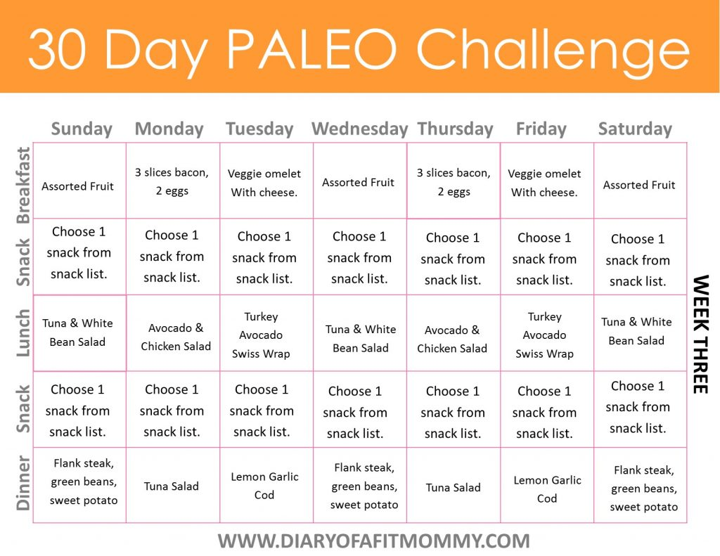 30 Day Paleo Challenge Diary Of A Fit Mommy