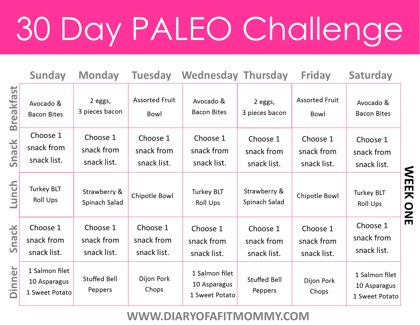 30 Day Paleo Challenge - Diary of a Fit Mommy