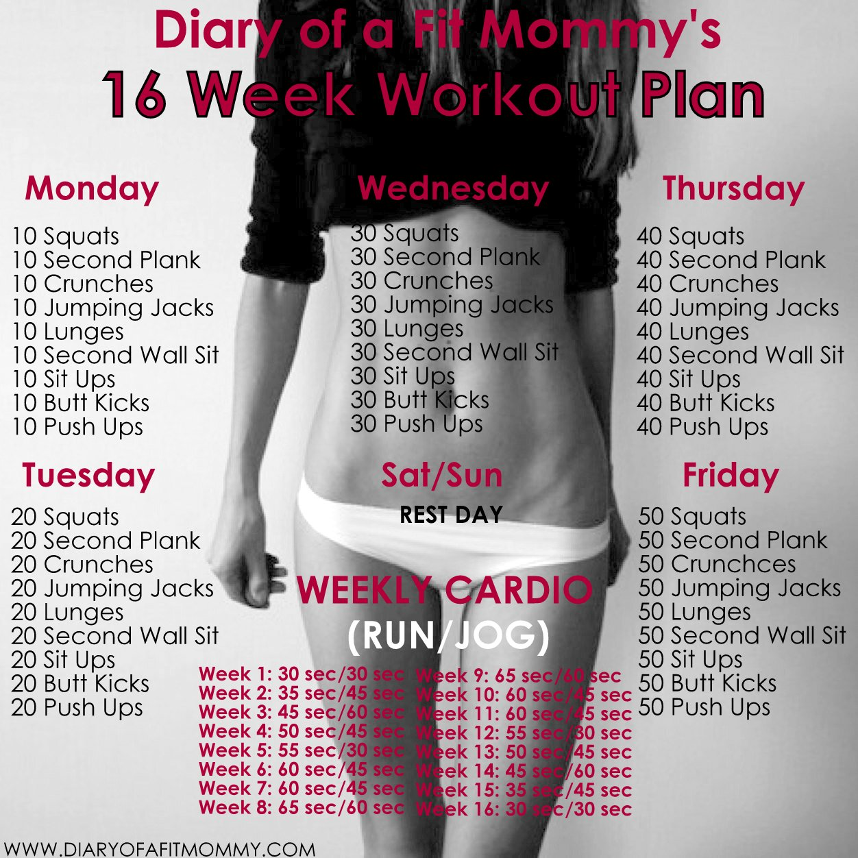 16 Week No Gym Home Workout Plan - Diary of a Fit Mommy