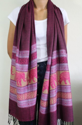 Purple Elephant Shawl