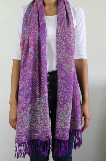 Traditional Purple Cashmere Scarf