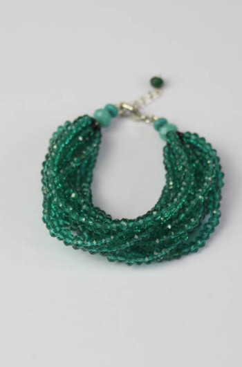Green Beaded Layer Bracelet
