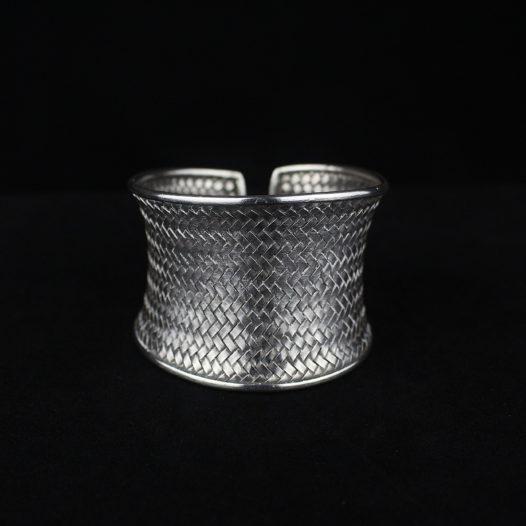 Woven Silver Cuff Bracelet