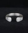 Sterling Silver Etched Tribal Motif Bangle 2