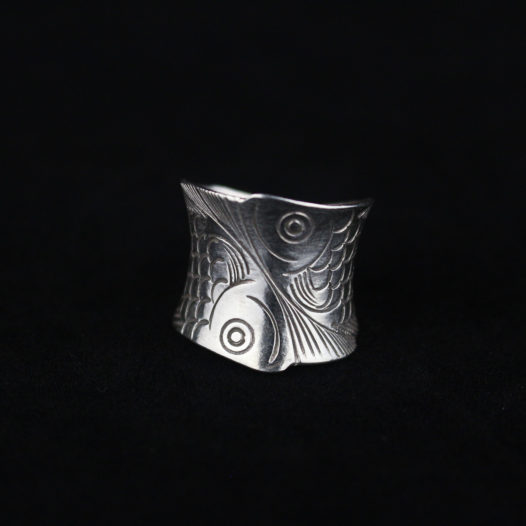Fine Silver Koi Fish Wrap Ring
