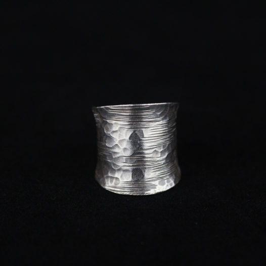 Hammered Fine Silver Ring with Grooves