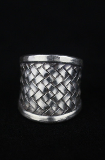 Traditional Woven Silver Statement Ring