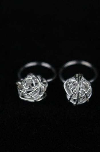 Birdnest Silver Earrings