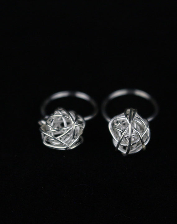 Birdnest Silver Earrings