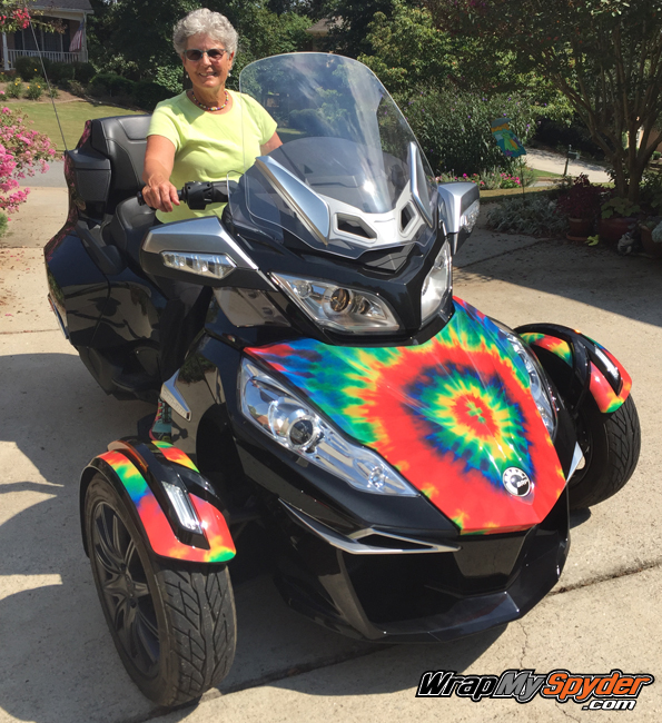 Tie Dye Can am Spyder RT wrap for frunk and fenders