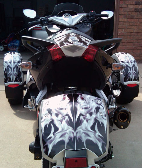 CanAm Spyder GrayBlack Flame Precut Vinyl Graphics Kit - Vinyl graphics for motorcycles