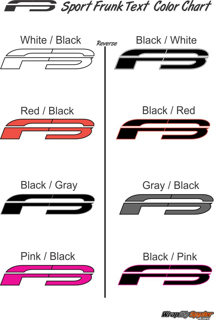 F3 Frunk Text Color Chart