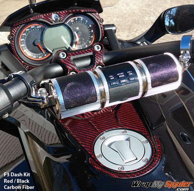 F3 Spyder Black Red Carbon Fiber dash kit