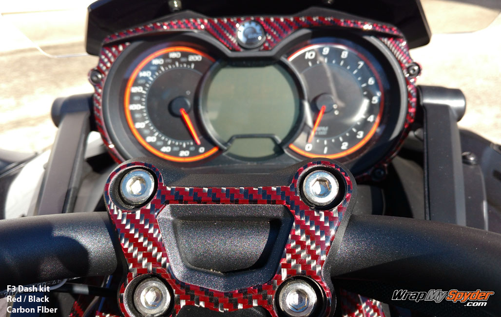 F3 Spyder Black Red Carbon Fiber dash kit