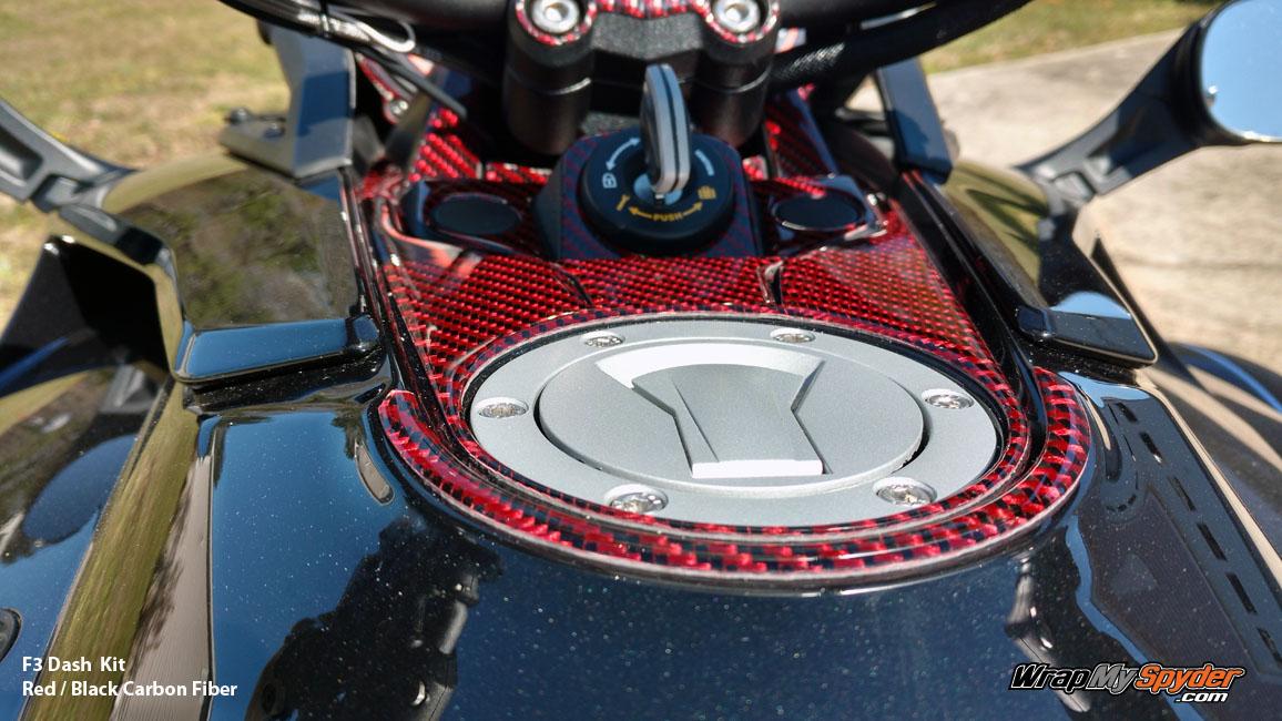 F3 Black Red Carbon Fiber dash kit