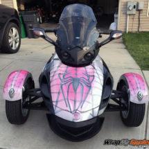 Pink Spidy on Web Frunk Wrap w/Glitter Sparkle Finish