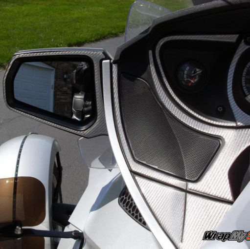 Silver Carbon Fiber Spyder RT Mirror panel