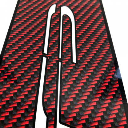 BRP Can-am Spyder F3 Le-Blanc-Red-Black-carbon-fiber- close up of F3 logo