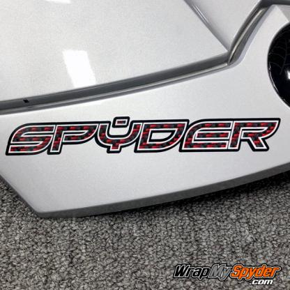BRP Can-am Spyder Red-Black Carbon Fiber Spyder Text helmet decal