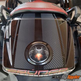 BRP Can-am Spyder F3 Touring - Limited-GT-Rear-Fender-Stripe-Textured-Carbon-Fiber-w-Dragon-Fire-emblem-covers