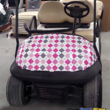 Argyle gray pink golf car wrapping vinyl