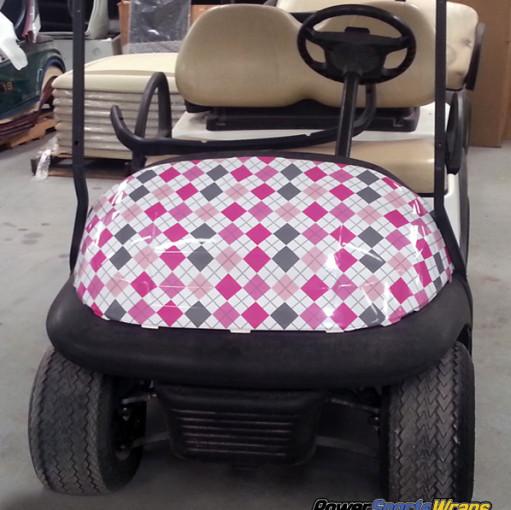 Argyle gray pink golf car wrapping vinyl