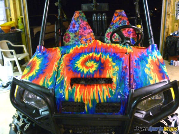 Tie Dye Fire side by side vinyl wrap