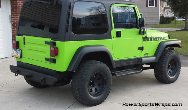 Jeep Wrangler Color Change Vinyl Wrap- Toxic Greenp