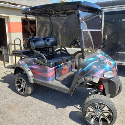 Colorful golf cart body wrap sold as DIY