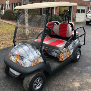flaming barbwire golf car wrap