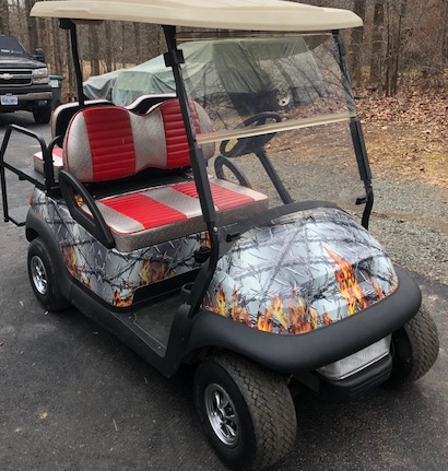 Flaming Barbwire golf car wrap kit