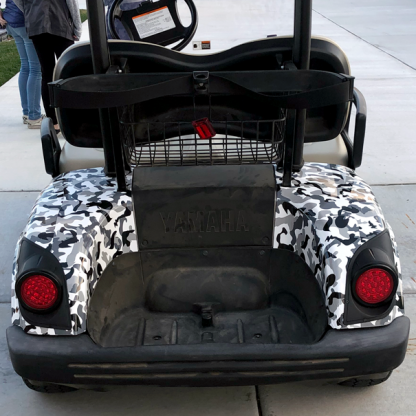 Black, gray, white Urban-Avalanch-camouflage-wrap for all standard size golf cart models