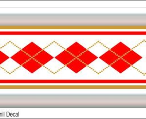 G15 3D Argyle Red/Gold Grill Decal Golf Car Graphic