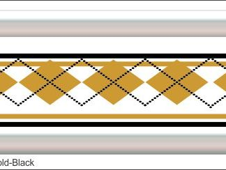 Argyle Gold/Black Grill Decal Golf Car Graphic