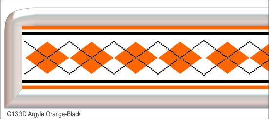 G13 3D Argyle Orange/Black Grill Decal Golf Car Graphic
