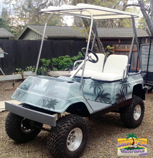 Moon Palm Gray golf car wrap