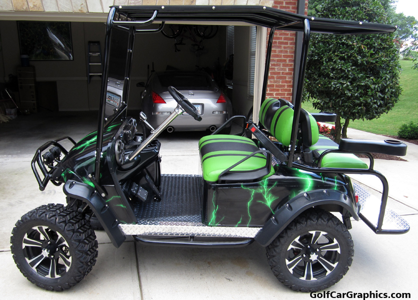 lightning-green DIY golf car wrap