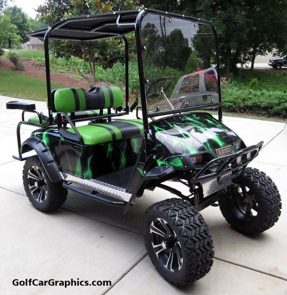 lightning-green golf car body wra