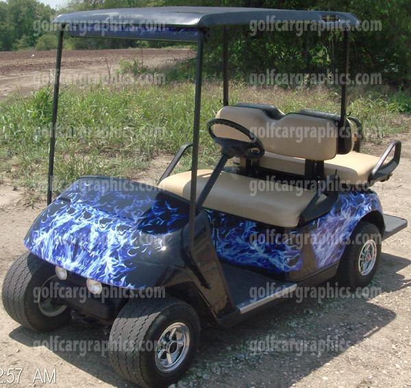 Blue black flame golf car graphic new blue flame cowl solutioingenieria Choice Image