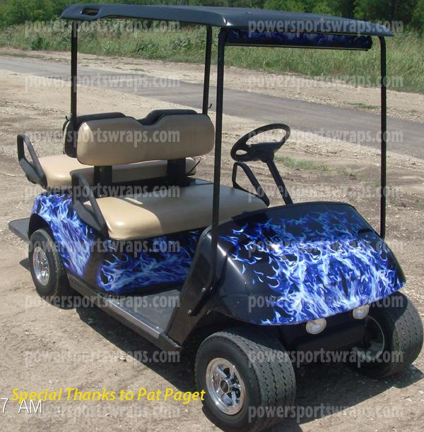 blue black flame golf car graphic. Black Bedroom Furniture Sets. Home Design Ideas