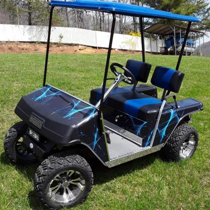 Liquid-web golf cart vinyl wrap kit. Available for all model golf carts