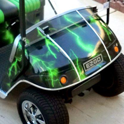 Lightning Green golf cart wrap