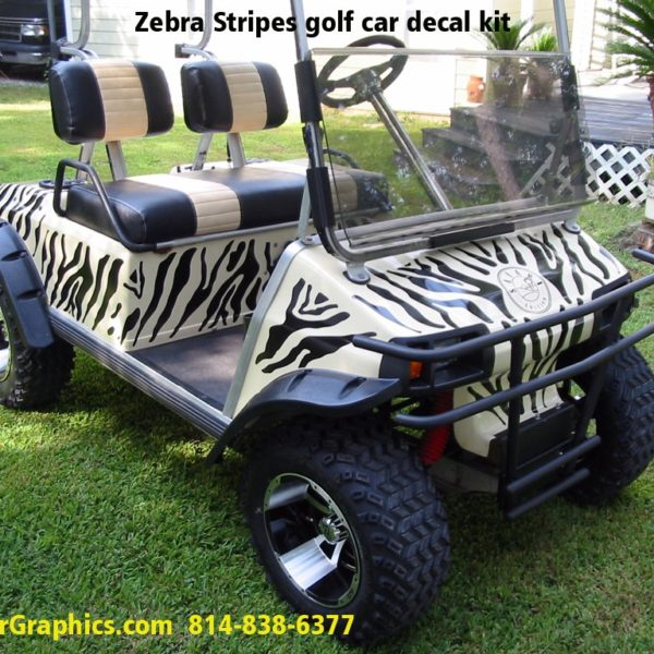 zebra golf car decal kit