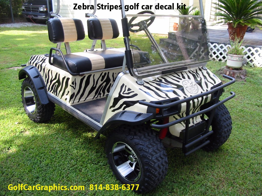 zebra golf car decal kit