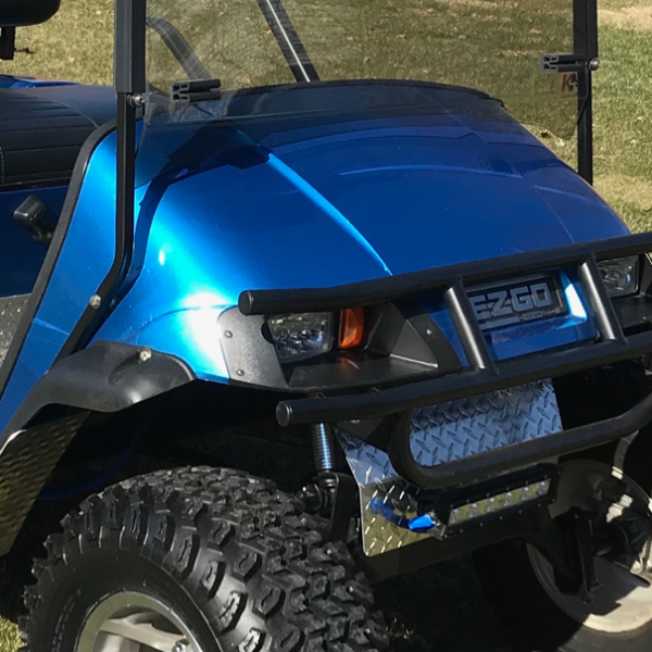 Blue-Bright-Metallic golf car wrap