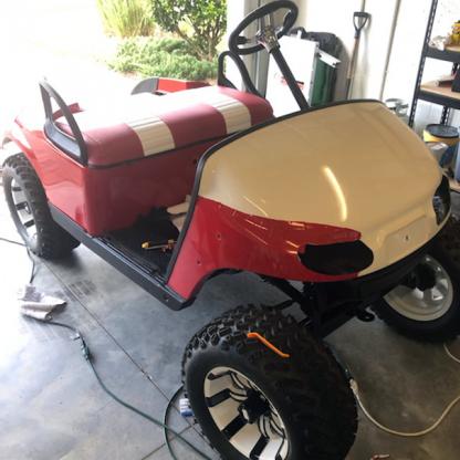 Gloss Red golf car wrap progress photo