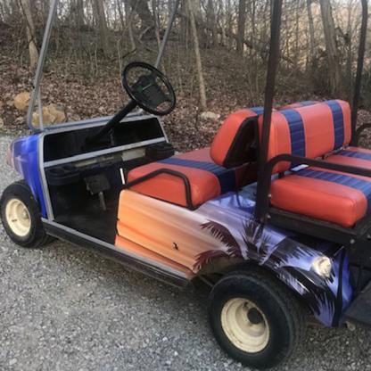Hawaii-Sunset vinyl wrap kit for golf carts sold as DIY kit.