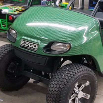 Green-Black-carbon fiber golf car wrap